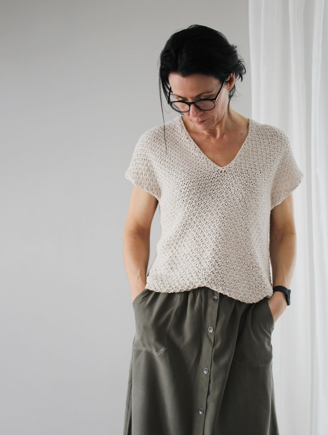 Grovstrikka T skjorte Dame Oppskrifter og materialpakker